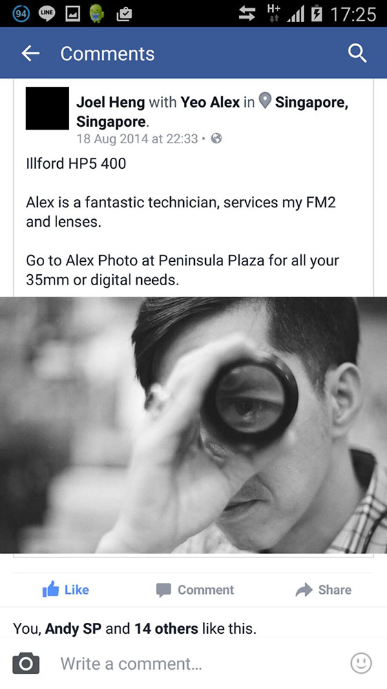 lens cleaning singapore - testimonial for alex photo